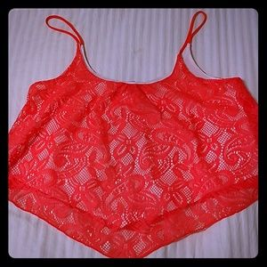 Rue 21 Neon Orange & White Lace Size Large